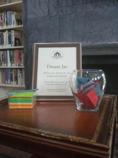 A picture of the Dream Jar at Jenkintown Library