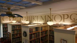 alphabet border and lights in children's reading room